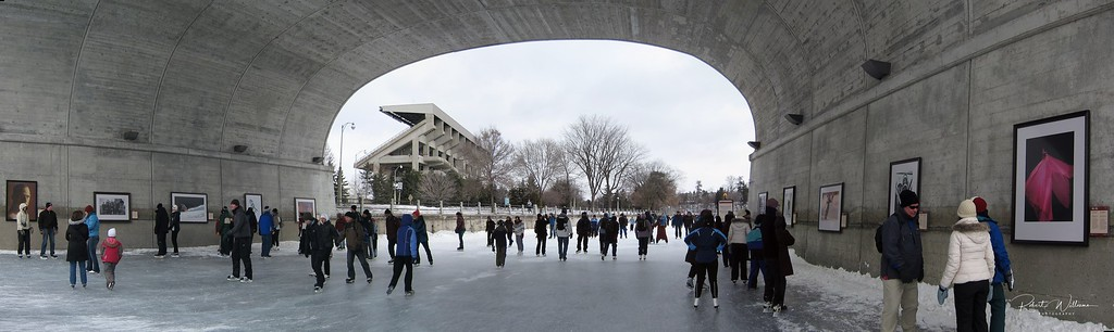 Skaters on the Rideau Canal at the Bank Street Bridge