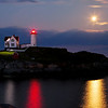 Supermoon over Nubble Lighthouse by Sasquatch