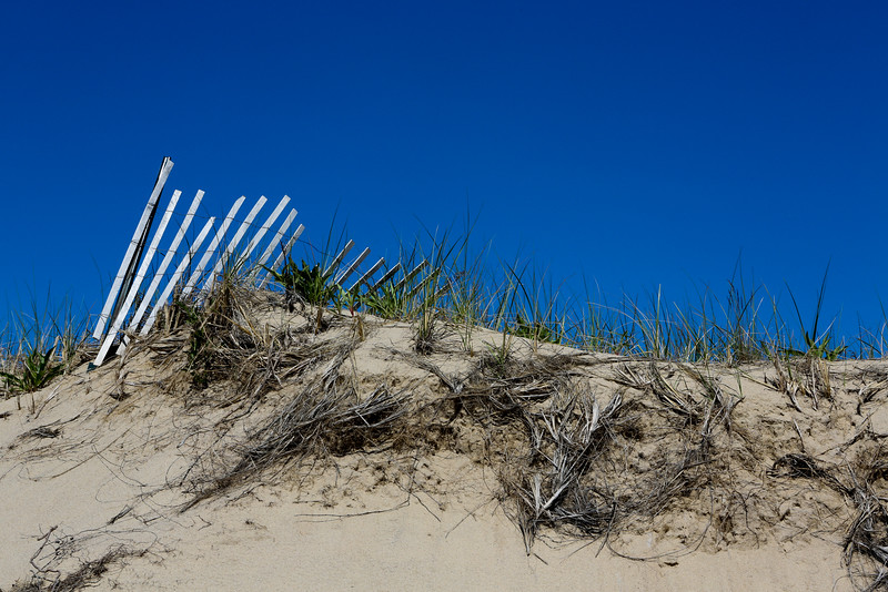 JULY 2014 <br /> <br /> Provincetown, MA <br /> <br /> This was taken on my favorite hike in Provincetown on a beautiful summer day. As I hiked through the dunes with my family, I spotted this fence.  I like how the sand, grass, fence and blue sky created a simple but specific frame. Happy Summer!