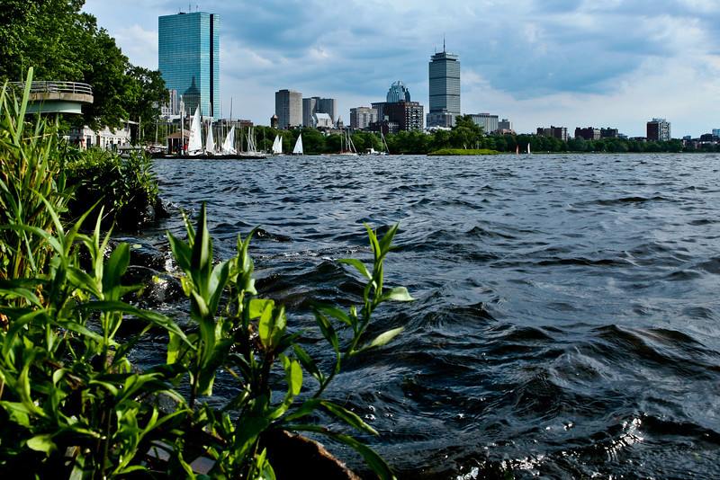 JUNE - 2010<br /> <br /> Boston, MA<br /> <br /> I walked along the Charles River one hot afternoon.   I wanted to find a unique angle showing the water, sailboats and the buildings... To get this shot, I stepped on a rock about a foot from the waters edge and practically fell in the river! Totally worth it...