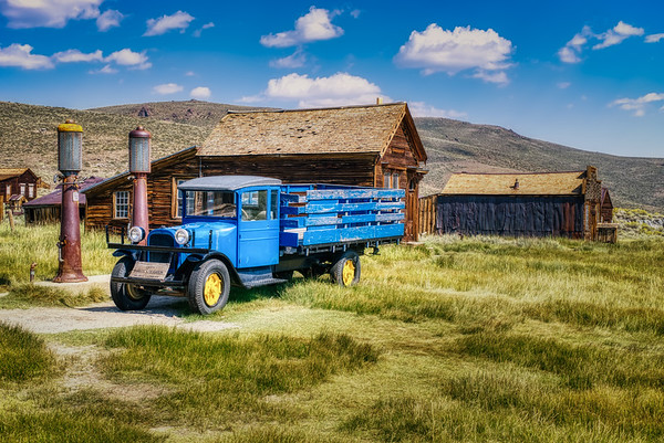 Old truck and a gas station in Bodie, CA