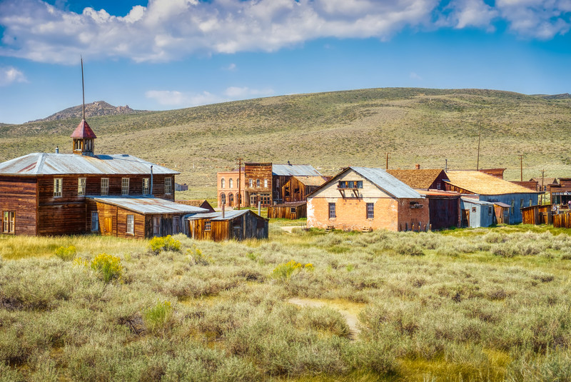 The school house and the rest of downtown Bodie, CA