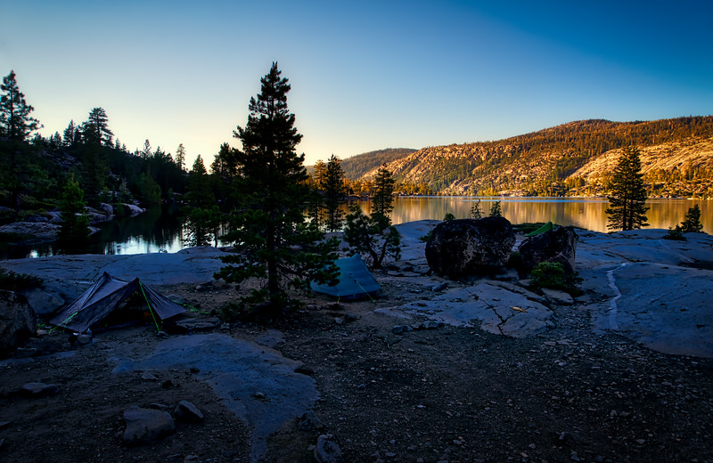 Sunset over camp at Rubicon Reservoir
