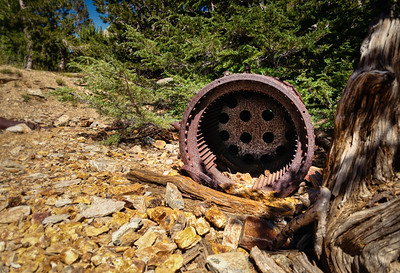 An old mining drum