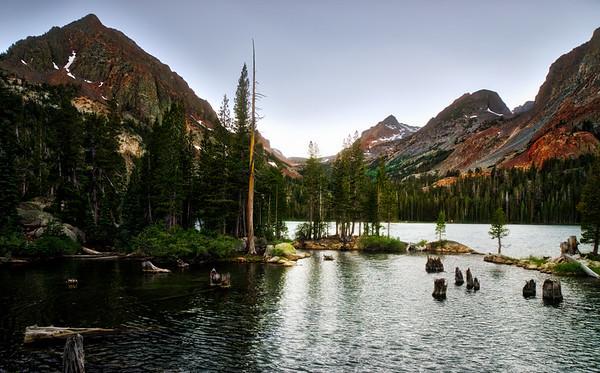 Green Lake, Gabbro Peak, and Virginia Pass at Twilight