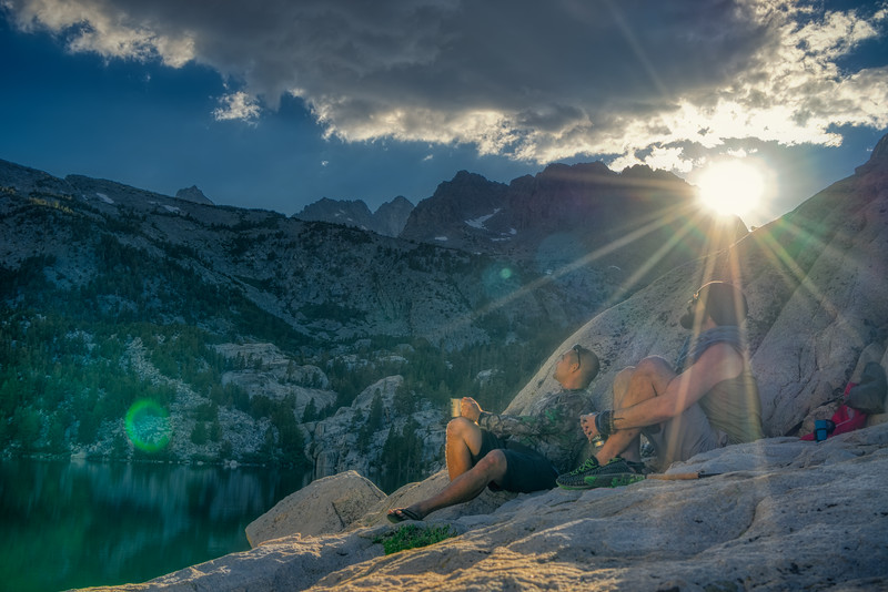 Jeff and Ryan soaking up sunset at the 2nd Big Pine Lake