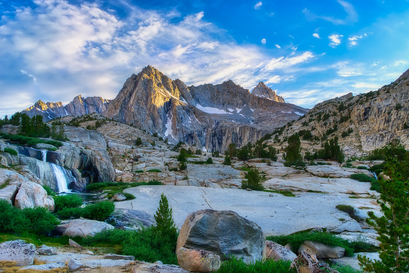 Moonlight Falls and Picture Peak during sunset on Sabrina Basin