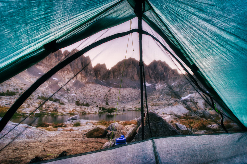 Waking up for sunrise in Dusy Basin
