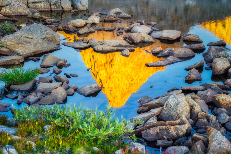 Isosceles Peak reflecting in a small pool