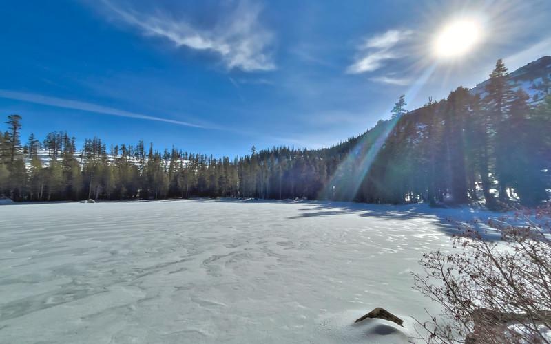 A frozen Lower Angora Lake