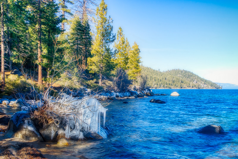 An icy Lake Tahoe Shoreline
