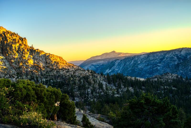 Sunset over Mokelumne Canyon and Mokelumne Peak