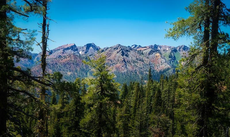 Looking out on Seven Up Peak, Bear Basin, Mumford Peak and Mumford Basin