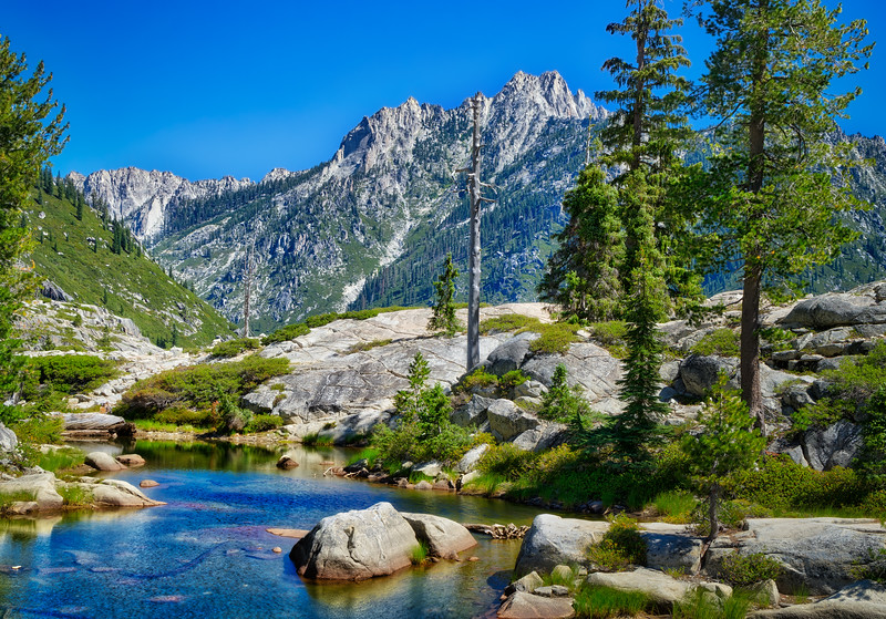 Boulder Creek Lakes with Sawtooth Peak in the distance