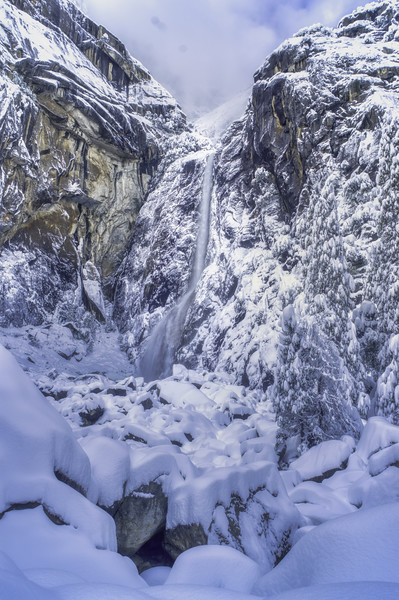 Lower Yosemite Falls with a fresh coat of snow