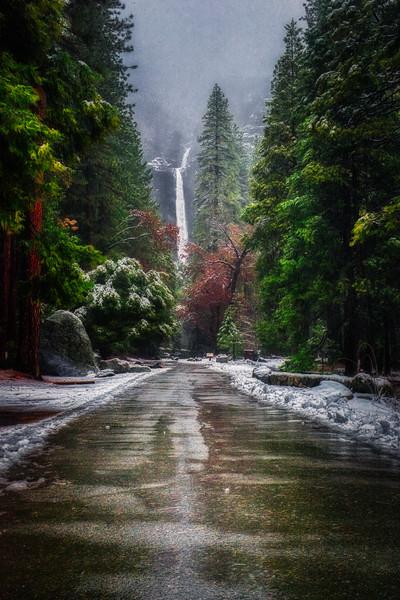 Lower Yosemite Falls before the storm