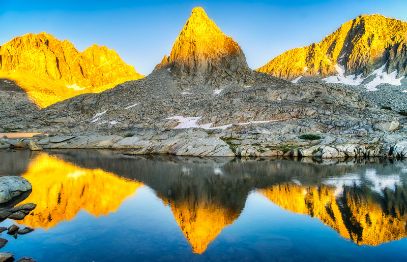 Isosceles Peak reflecting in an un-named lake.
