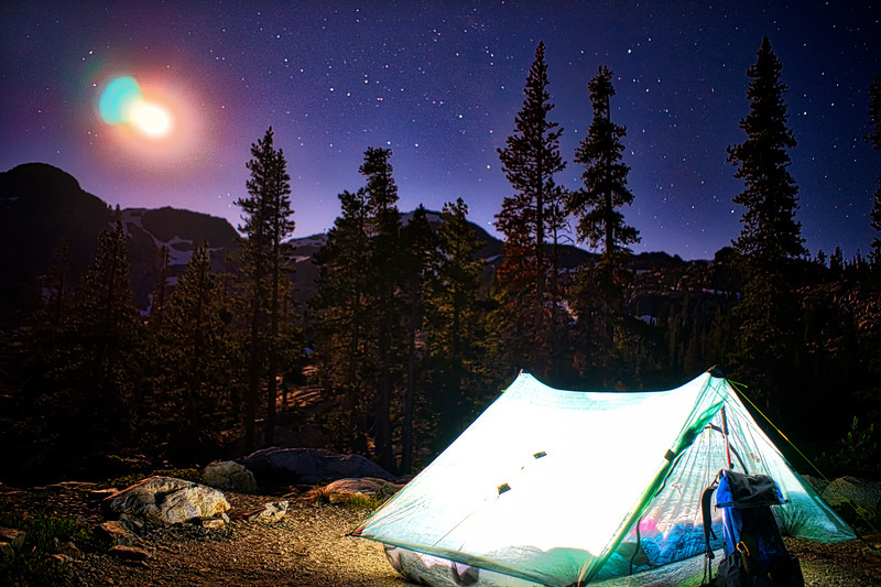The moon and my tent at night in the 5 Lakes Basin