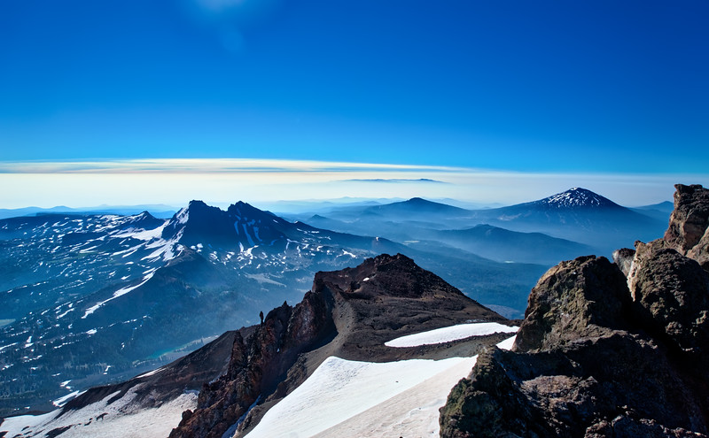 Broken Top and Mt. Bachelor from the east rim of the summit of the South Sister (Take 1)