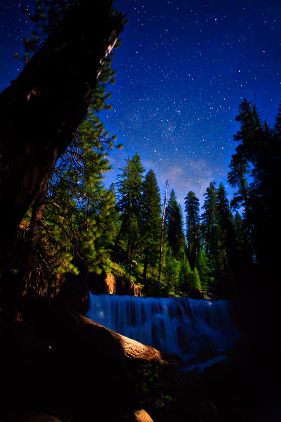 Middle McCloud Falls in the moonlight (vertical)