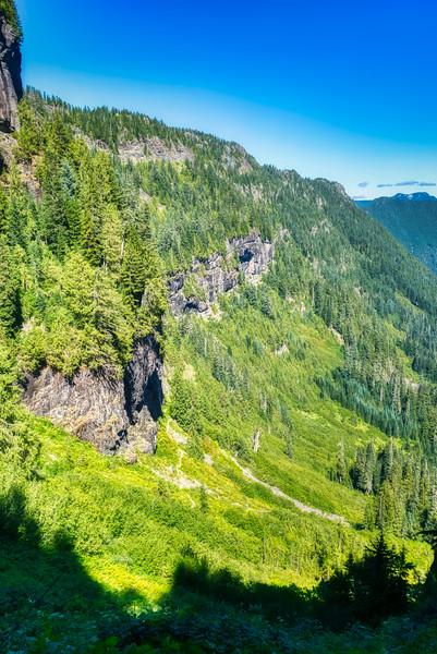 Cliffs along side the trail down Ipsut Creek Canyon
