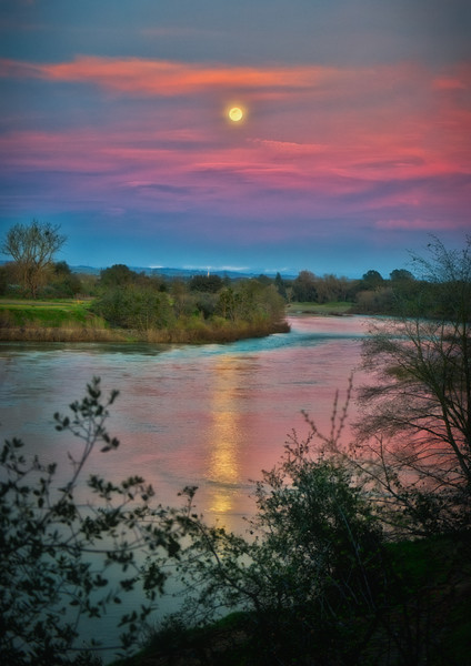 Sunset and Moonrise along the American River