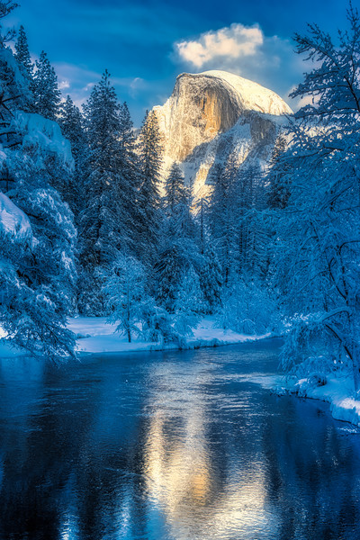 The Merced River and Half Dome in the snow