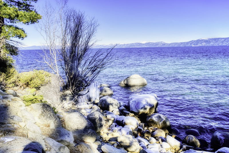 Frozen rocks and icicles along Lake Tahoe