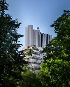 La Citée Perdue 👩🌾🗿🗺 . L'hotel Pullman de Montparnasse et les bâtiments alentour, comme une antique cité perdue, engloutie par la forêt vierge. . . #photographathome #covid19 #frommywindow #RestezChezVous #stayathome #confinement #paris #parisphoto #Montparnasse #foret #citéperdue #lightexmachina #autophotosgraphein