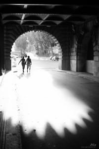 Dans la lumière  Paris, sous le Pont Alexandre III Un couple, s'inscrit durant un instant fugace, dans cette double arche d'ombre et de lumière.