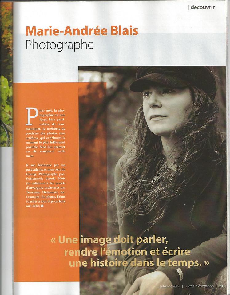 Article dans le magasine Vivre en campagne - Automne 2015
