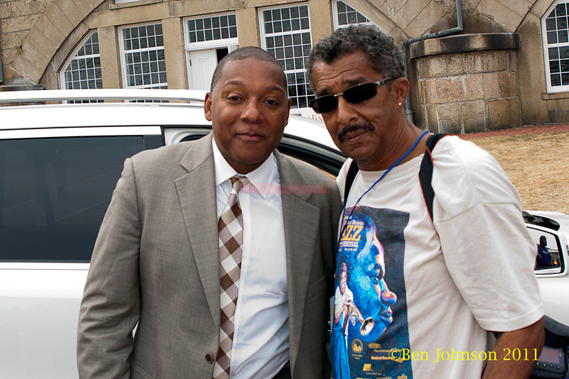 Wynton Marsalis and photographer Ben Johnson backstage at The 2011 Newport Jazz Festival