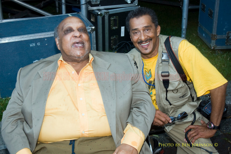Les McCann Photo with photographer Ben Johnson backstage at The 21st Annual Clifford Brown Jazz Festival at Rodney Square in Wilmington, Delaware, June 15 -21, 2009