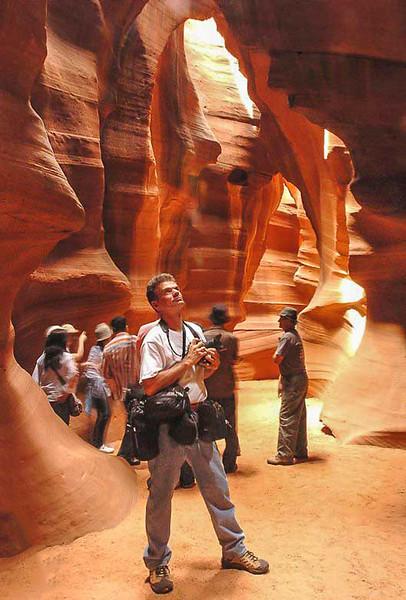 Photographer Rich T. Slattery inside Antelope Canyon, Arizona