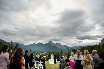 Wedding Photography featuring an outdoor ceremony at viewpoint 5 at Delta Lodge in Kananaskis