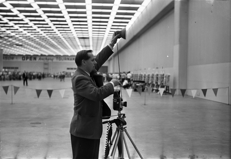 "Professional Sports Photographer, Joe Stevens, photographing the Ann Marston Archery Tournaments.  Joe Stevens - Professional Sports Photographer - 1924-2003 - Was my father and this is the website I've created to share & sell his 50 year collection of Detroit area body of lifetime work starting with the 1960's: Detroit Dragway, Motor City & Milan Dragway, Deroit Autorama's, Bob-lo Island & Bob-lo Boats, Celebrities and at some point, when I finish with the 1960's, I will begine to digitize his 30 year collection from when he was the Detroit Red Wings official publicity photographer. I hope you enjoy browsing and please inquire about photo's you're looking for or would like to see at: ""The Joe Stevens Detroit Dragway Photographic Collection"" on Facebook. That is you're quickest way to reach me, Patrice Lehman, Joe Stevens daughter or call 734-755-1711 and leave a message. I saved other collections besides the ones I've mentioned & hear are some of them: Trenton, MI. Sports, Homecoming & All Stars, The Adray Scholarship Awards games & Ceremonies, Celebrity fund raisers such as Sparky Anderson's & Celebrity hockey with Gordy Howe & Ted Lyndsay, Silver Sticks Hockey Tournaments, many local downriver & Detroit landmarks and more"