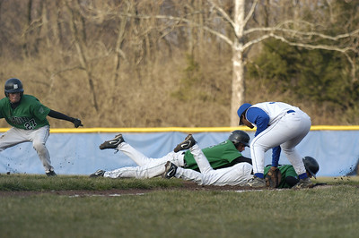 This is the final of 3 photos used to create a layered sequence, of a pick off attempt.