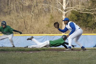 This is the 2nd of 3 photos used to create a layered sequence, of a pick off attempt.