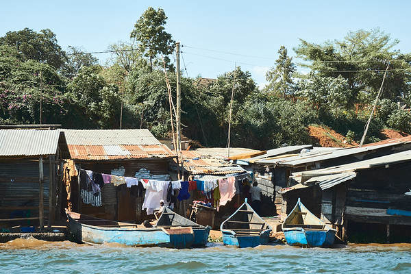 One of the many small fishing villages on the shores of Lake Victoria near Jinja, Uganda.