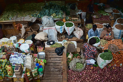 The many colors and patterns of Jinja Central Market.