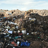 Goats climb on a massive pile of garbage in Walukuba.  The goats eat the organic material, leaving behind metals and recyclables for separation & sale.  However, these goats are also used for food, and the chemicals absorbed here wind up ingested by humans.