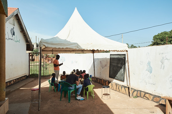 X-SUBA hopes to have a more permanent structure to hold the Learning Center.  As it is right now, they erect a canopy every morning to keep the hot equatorial sun off of the children.