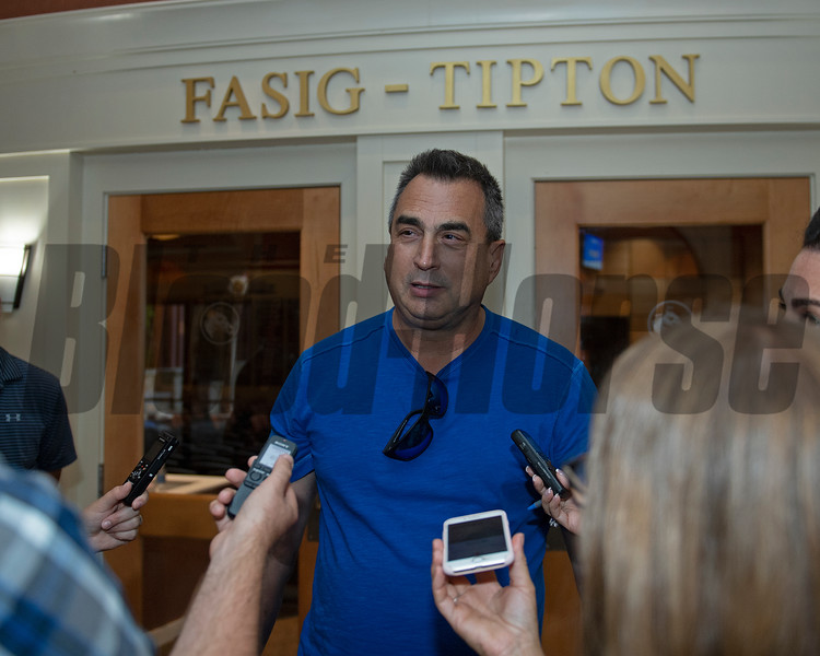 George Sharp with media after buying Hip 647 Front Run the Fed from Elite Sales<br /> Scenes, people and horses at The July Sale at Fasig-Tipton near Lexington, Ky. on July 12, 2021.