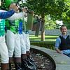 Standing by the jockey statues near the paddock, Julien Leparoux at Keeneland  on June 10, 2021.