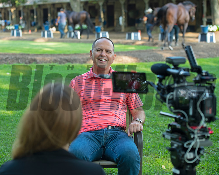 Chad Brown outside his barn doing a BH+ video interview with Claire Crosby and the video team. <br /> Sales scenes at Fasig-Tipton in Saratoga Springs, N.Y. on Aug. 10, 2021.