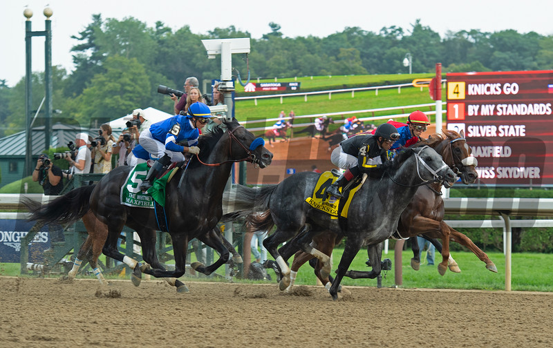 First time by. Knicks Go with Joel Rosario wins the Whitney (G1). <br /> Saratoga racing scenes at Saratoga in Saratoga Springs, N.Y. on Aug. 7, 2021.