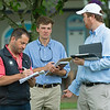 (L-R): David Ingordo, Iv Hendrix, and Liam Benson. Scenes, people and horses at The July Sale at Fasig-Tipton near Lexington, Ky. on July 11, 2021.