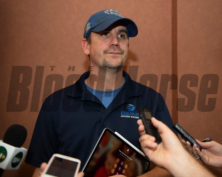 Matt Weinman after sale of Hip 111 colt Candy Ride out of Beyond Grace from Taylor Made, agent.<br /> Scenes, people and horses at The July Sale at Fasig-Tipton near Lexington, Ky. on July 13, 2021.