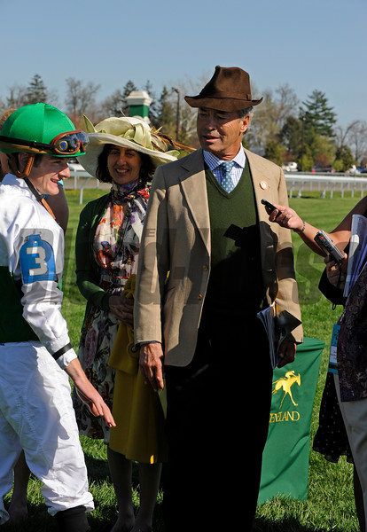 Caption:  George Strawbridge, right, talks with Julien Leparoux<br /> Undercard stake and scenes at Keeneland   on Friday, April 11, 2009, in Lexington, Ky.<br /> Bluegrass4  image3059<br /> photo by Anne M. Eberhardt