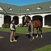Rickelle Nelson with Authentic at Spendthrift Farm near Lexington, Ky., on Dec. 9, 2020.